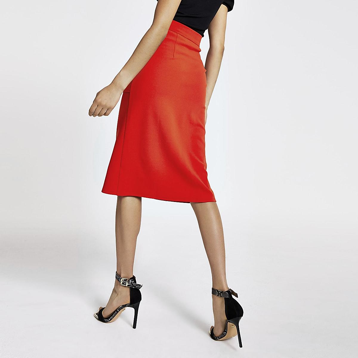 98825b2529 Red zip front pencil skirt - Midi Skirts - Skirts - women