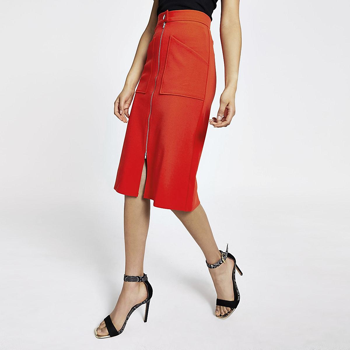 Red zip front pencil skirt