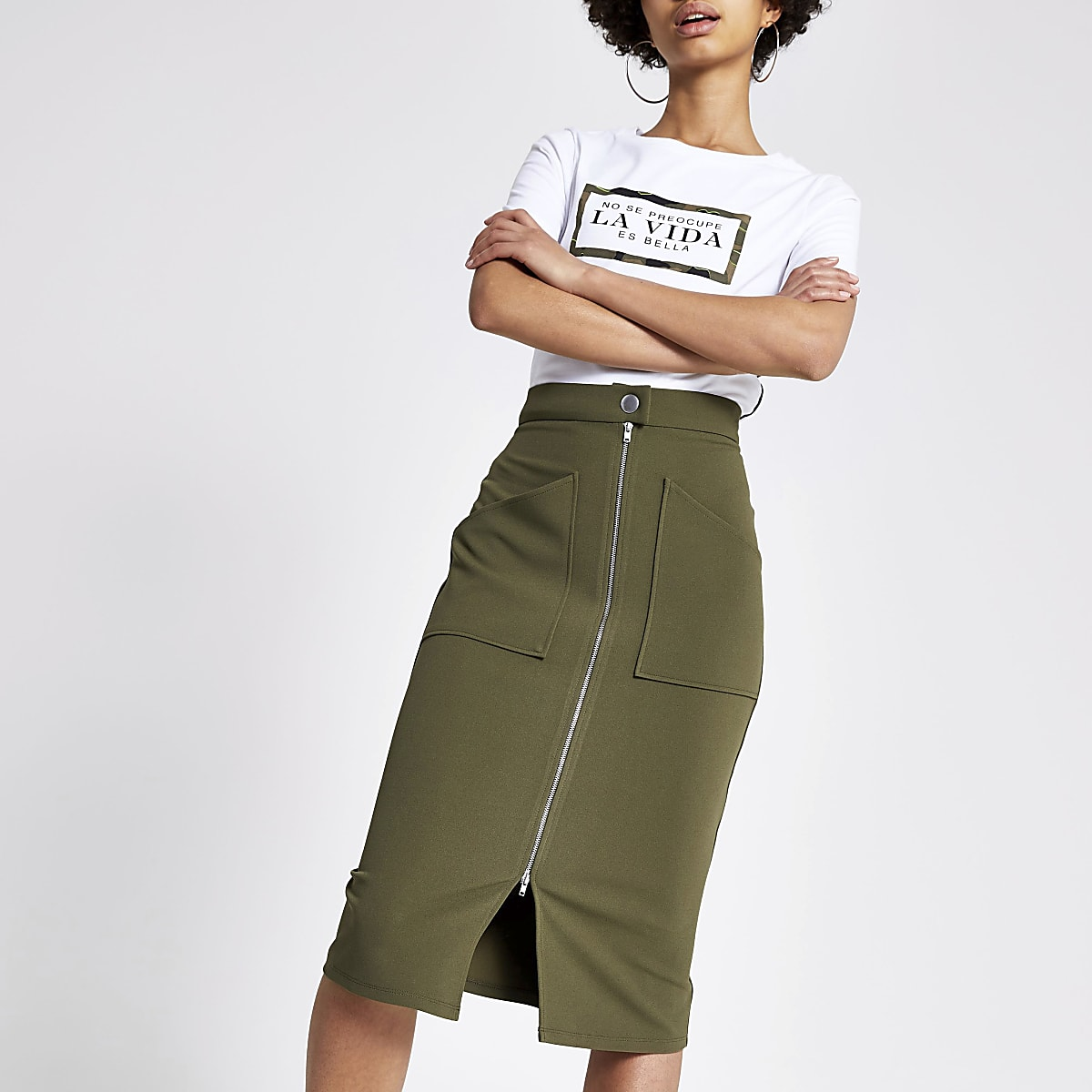 Khaki zip through pencil skirt