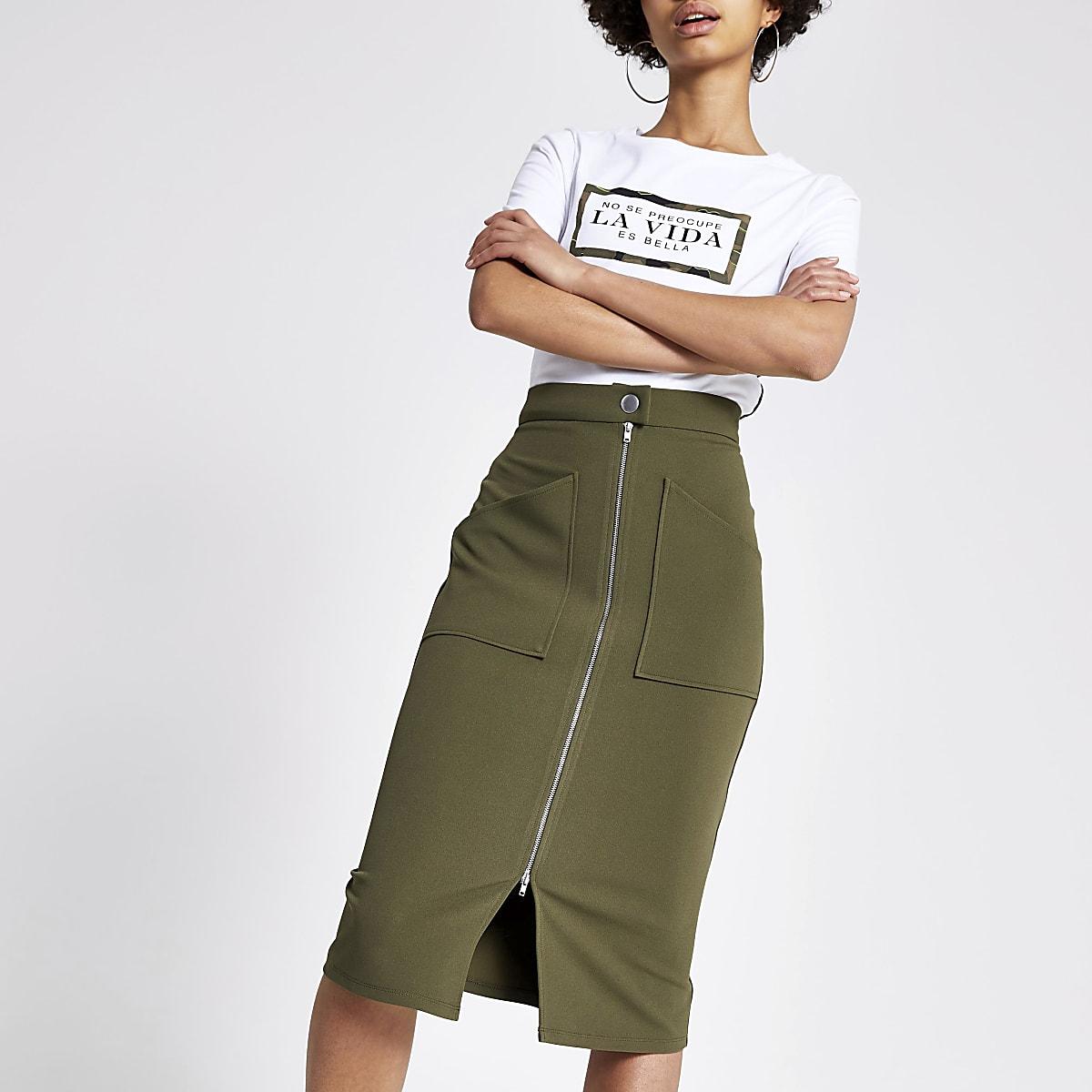 Khaki zip through pencil skirt