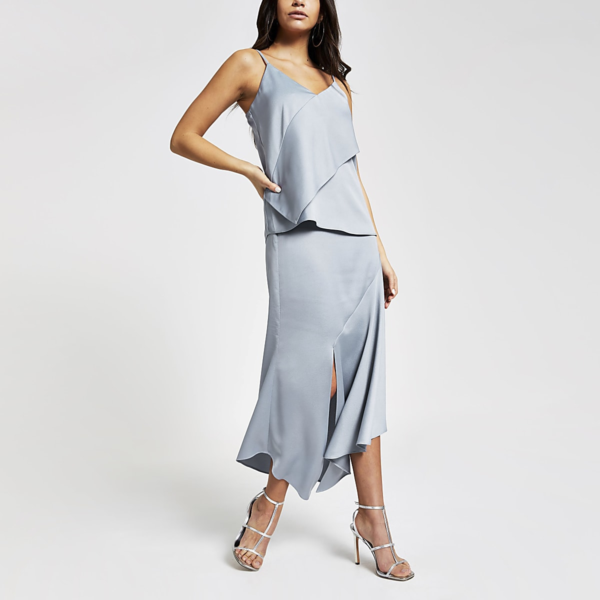 Blue satin asymmetric midi skirt