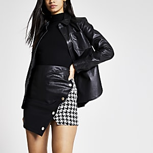 Mini-jupe portefeuille noire à imprimé pied-de-poule