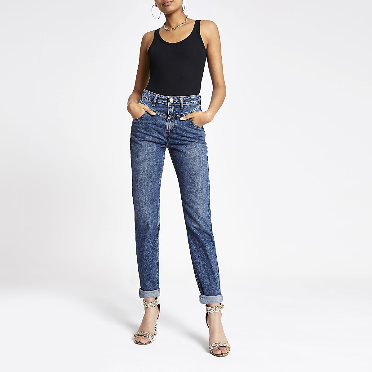 Dark blue Mom rolled hem denim jeans