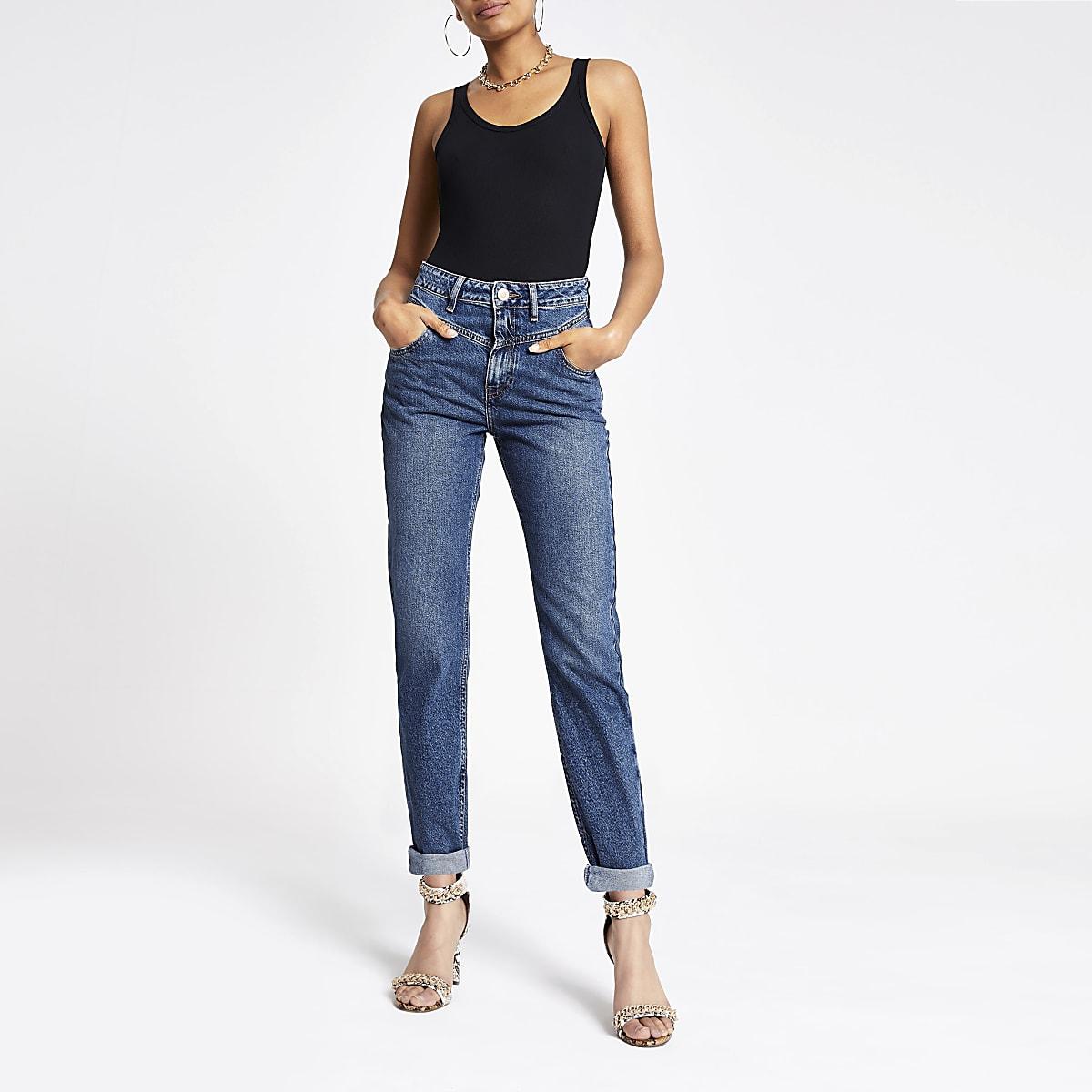 Donkerblauwe Mom denim jeans met omgeslagen zoom