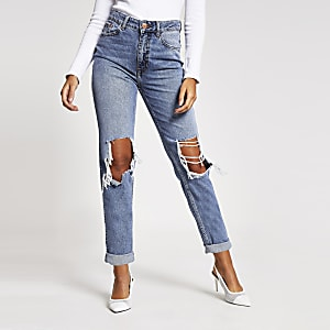 Mittelblaue Mom-Jeans im Used-Look