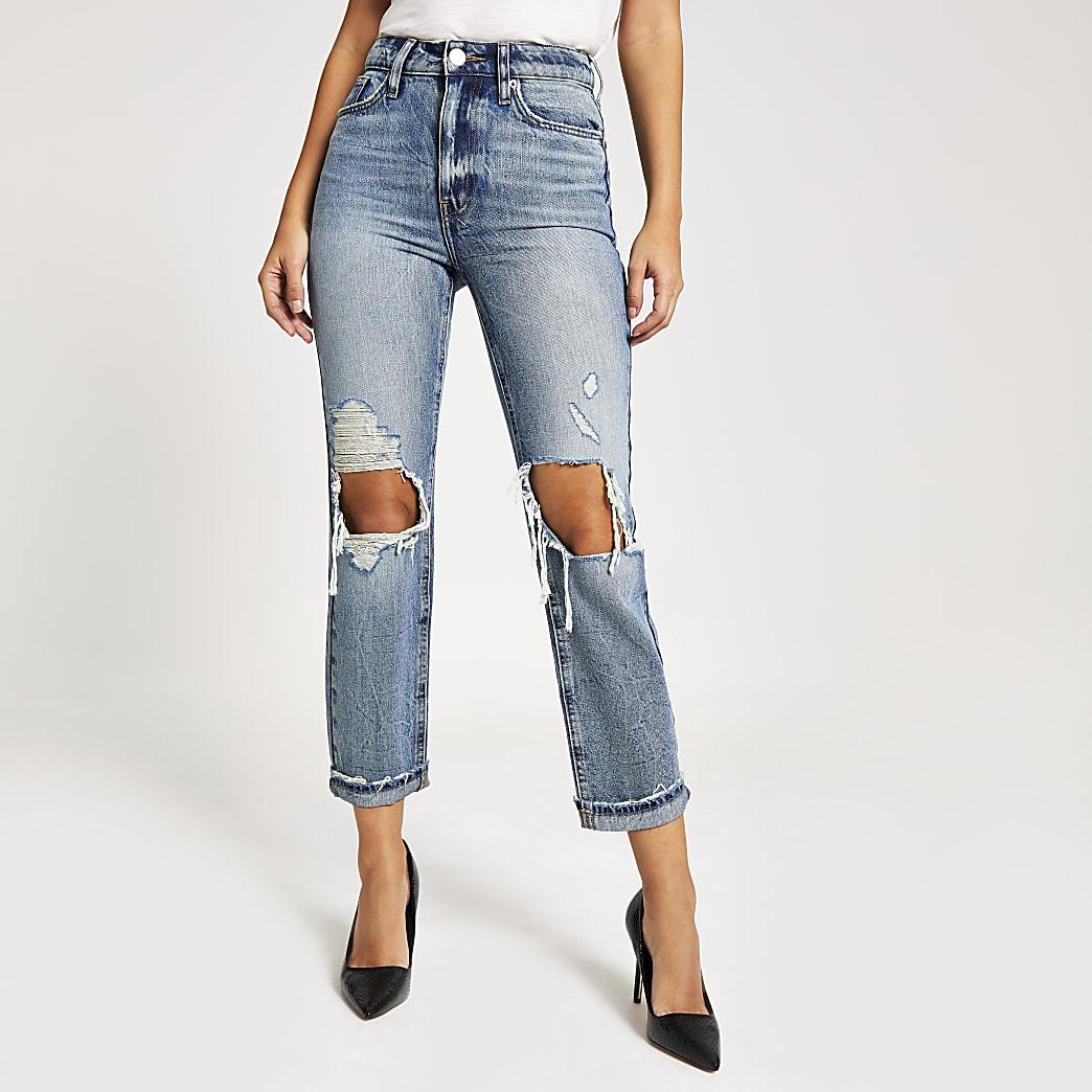 Original-Denim Mom-Jeans im Used-Look