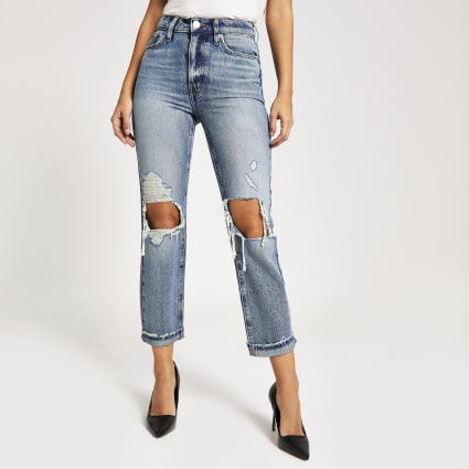 Authentic denim ripped Mom jeans