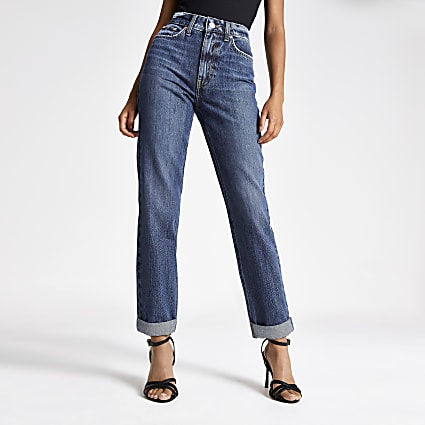 Dark blue high rise Mom jeans