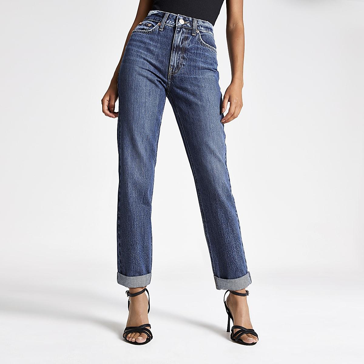 Dark blue high rise Mom jeans