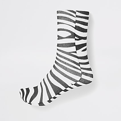 White zebra print ankle socks