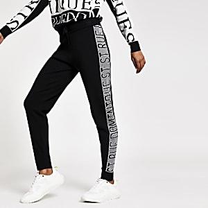 Petite – Pantalon de jogging en maille «Rue Dominique» noir