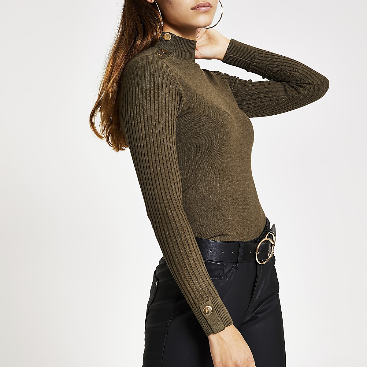Petite khaki high neck knitted jumper