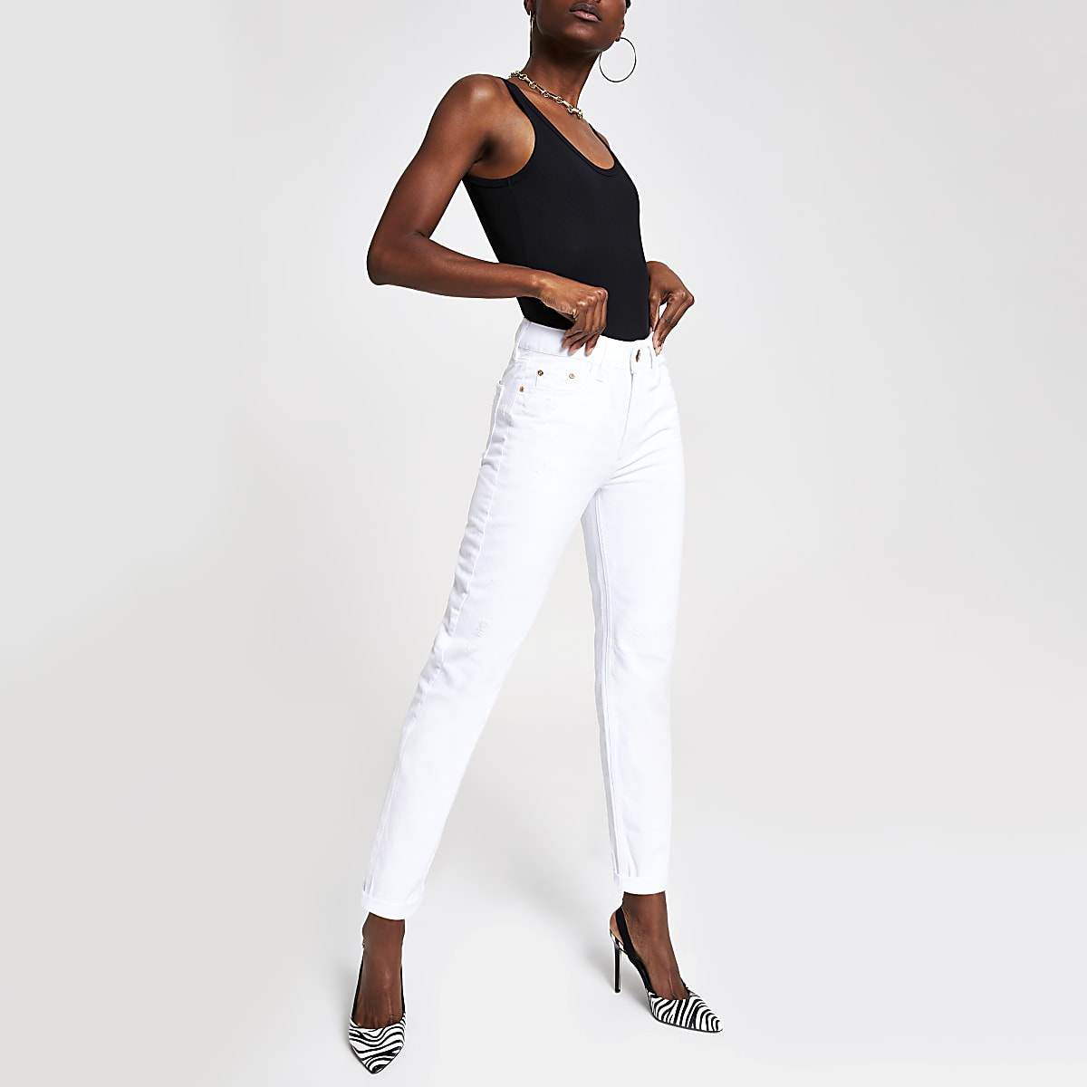 Witte Mom distressed jeans