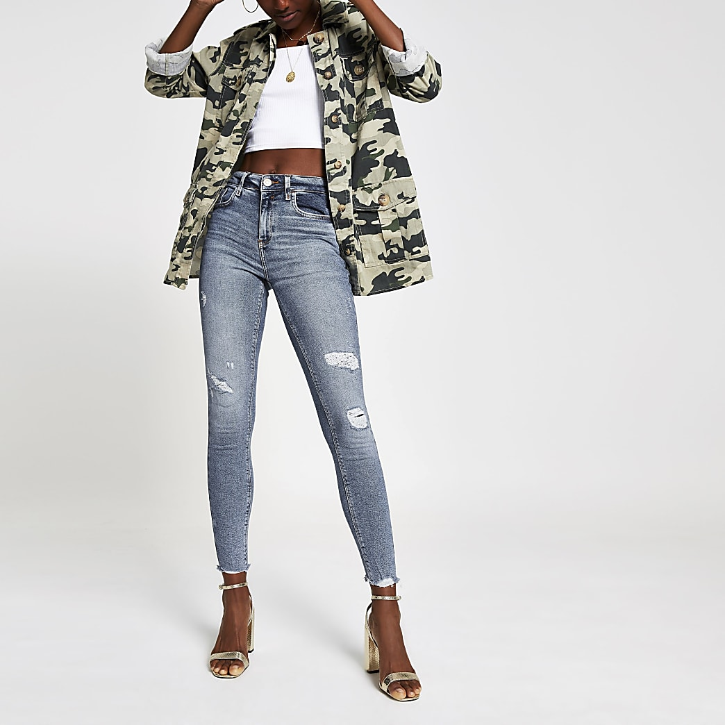 Amelie - Middenblauwe superskinny ripped jeans