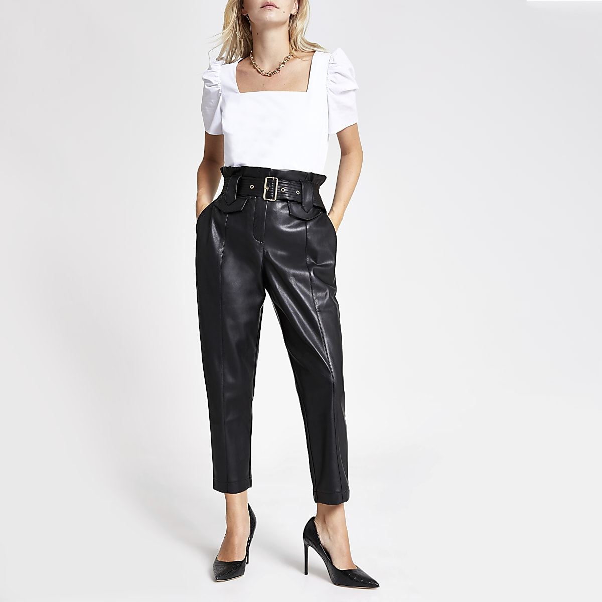 Petite faux leather paperbag waist trousers
