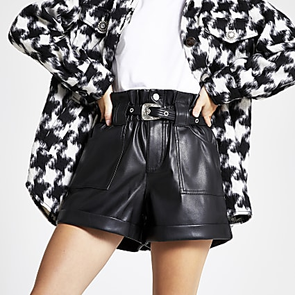 Petite faux leather paperbag waist Mom shorts