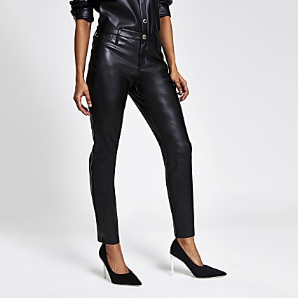 Petite black faux leather Molly trousers