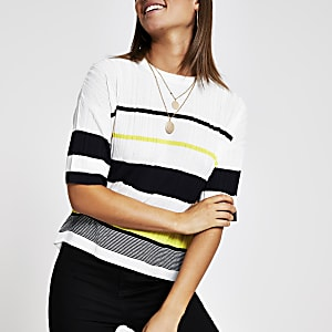 White stripe knitted T-shirt