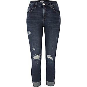 0106658c53ef3e Petite – Amelie – Blaue Skinny Jeans im Used-Look