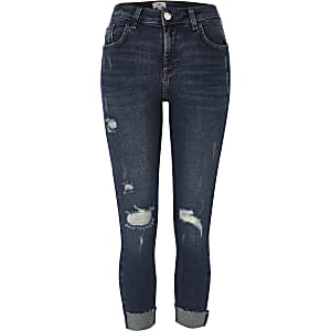Petite blue Amelie skinny ripped knee jeans