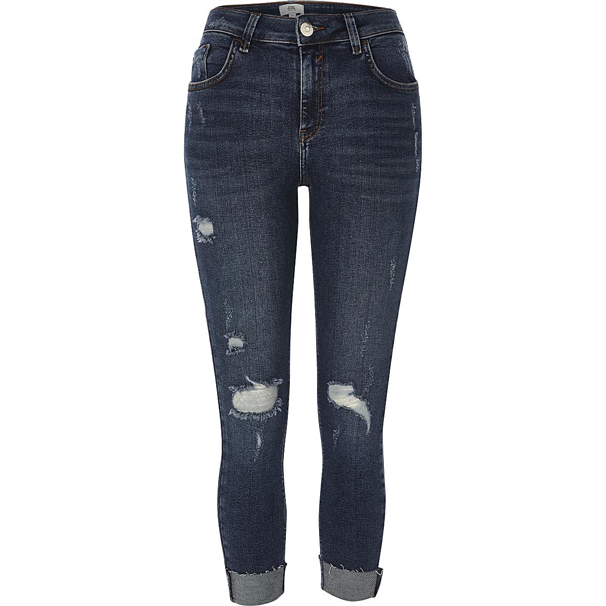 RI Petite - Amelie - Blauwe superskinny ripped jeans