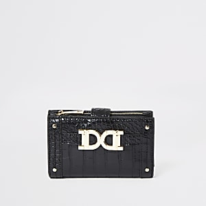 Black gold colour detail mini fold out purse