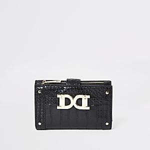 Mini porte-monnaie noir à rabat avec détails dorés