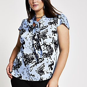 Plus blue print tie neck blouse