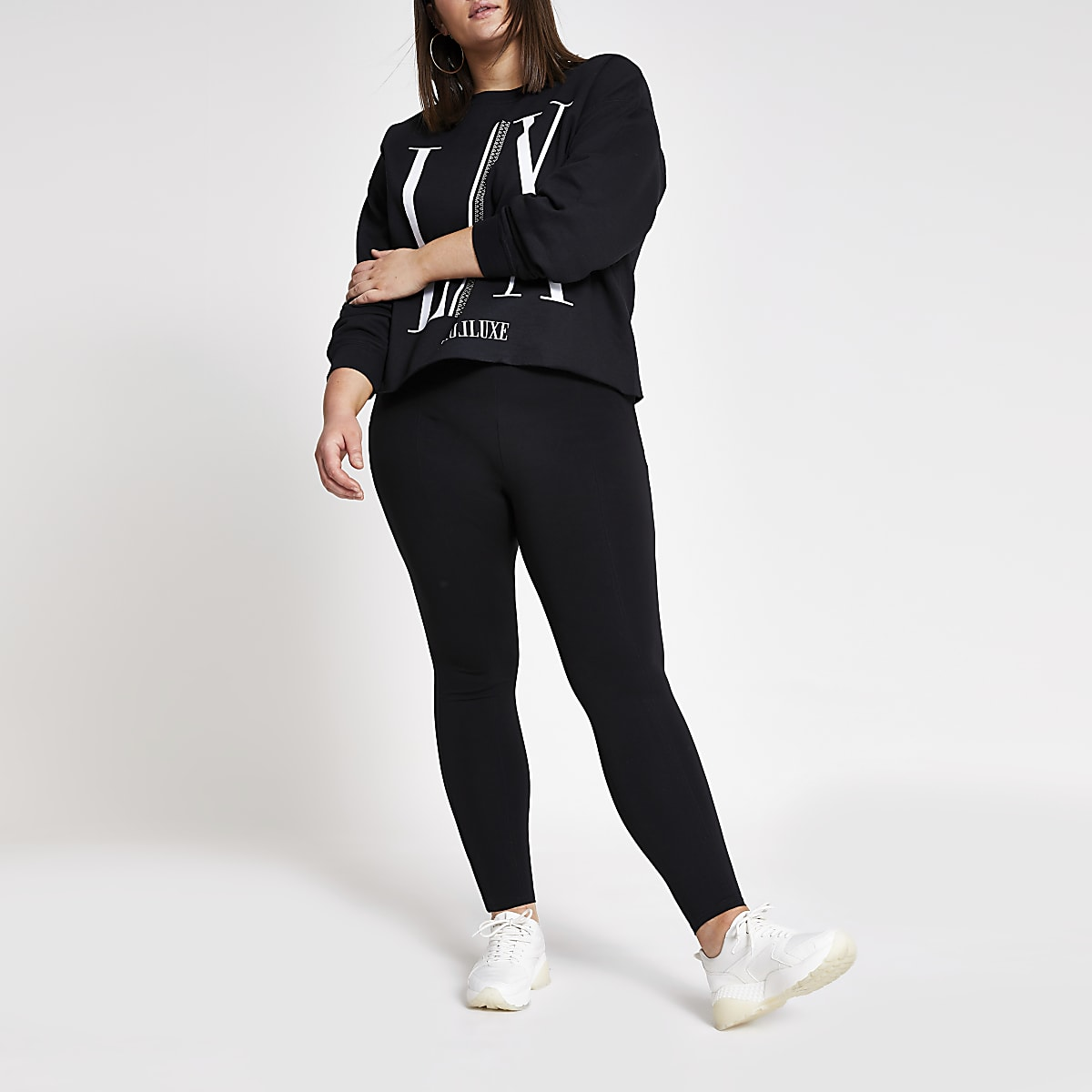 Plus black ponte leggings