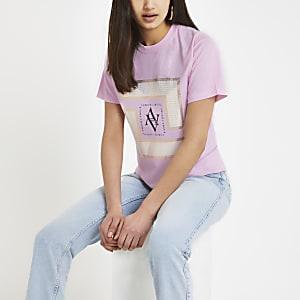 Pink printed crop T-shirt