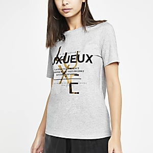 Grey foil print fitted T-shirt