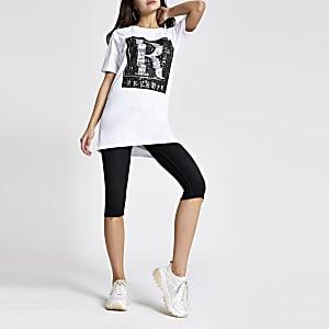 T-shirt boyfriend blanc avec motif « Rêveuse » en sequins