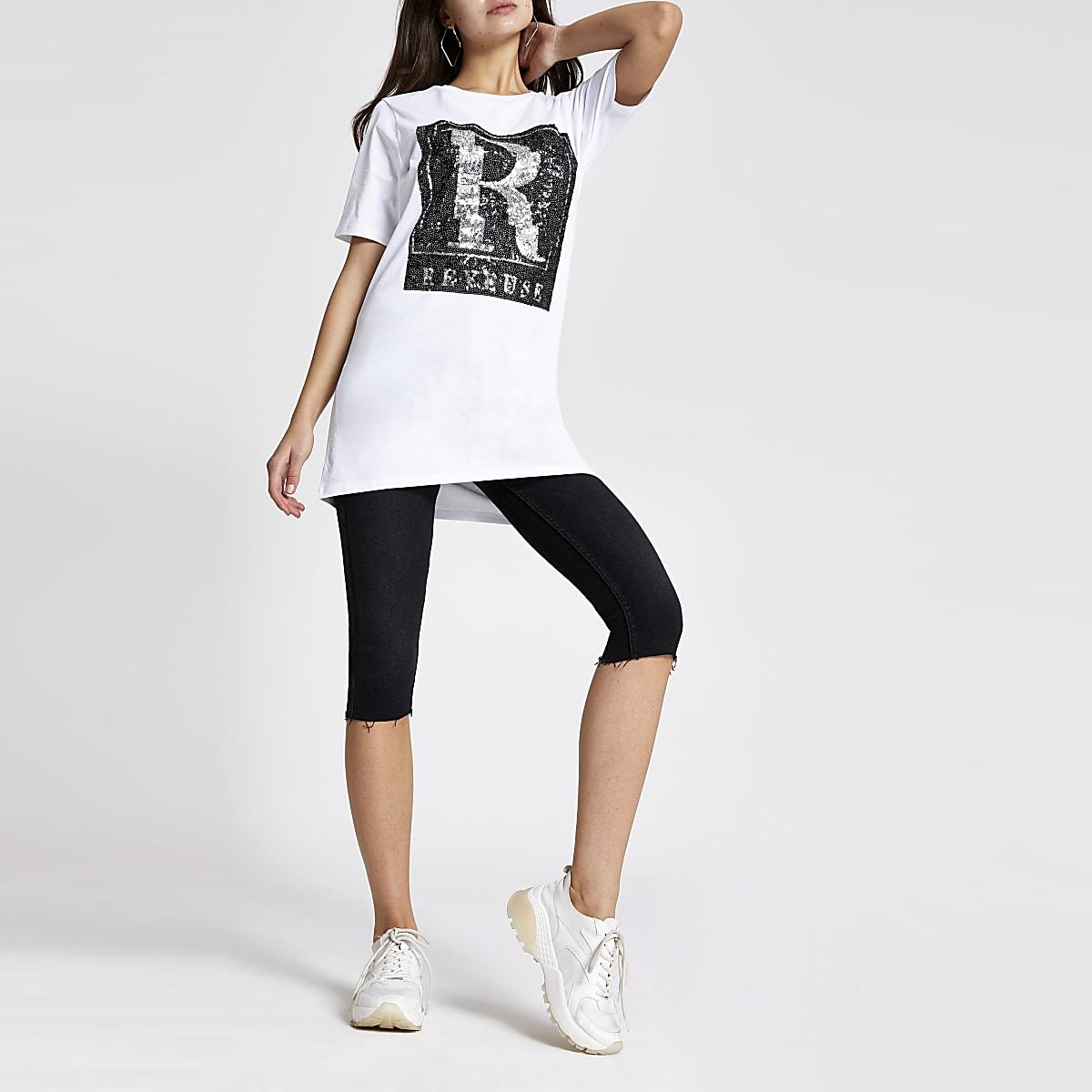 White 'Reveuse' sequin boyfriend T-shirt