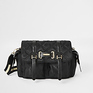 Black camo quilted cross body bag