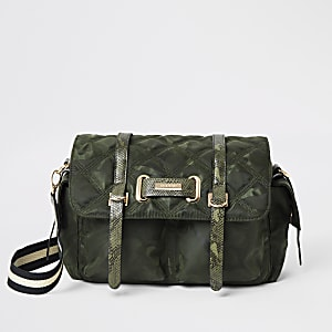Khaki camo quilted cross body bag