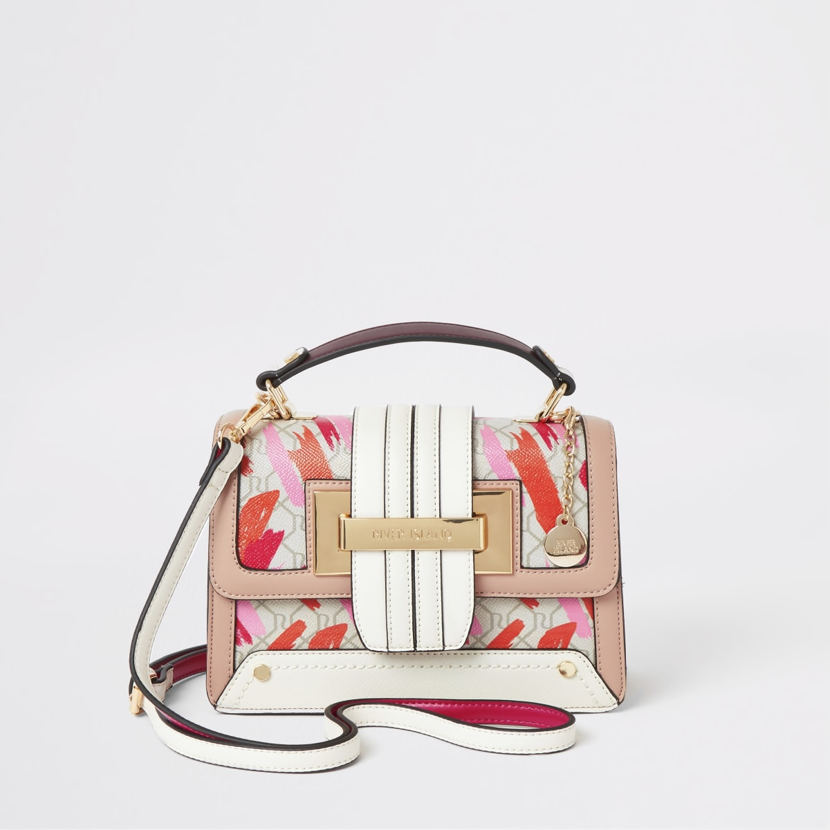Pink lipstick printed tote cross body bag