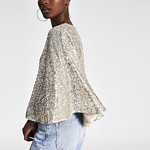 Silver sequin cape top