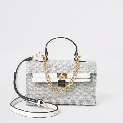 White Diamante Mini Tote Bag by River Island