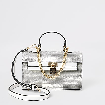 White diamante mini tote bag