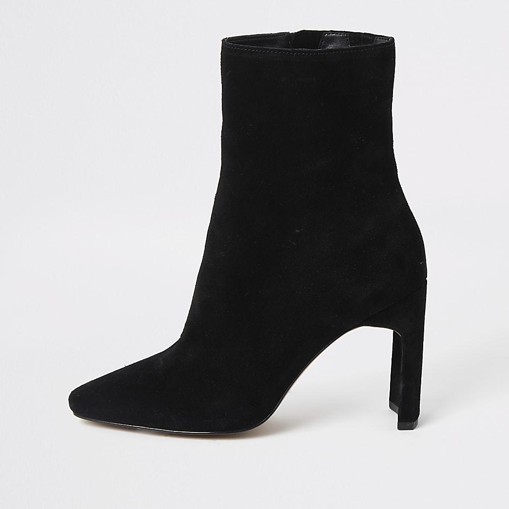 Black suede high blocked heel ankle boot