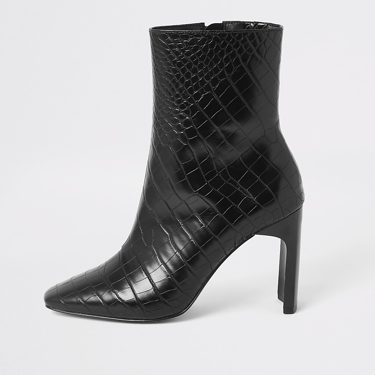 Black croc embossed high heel ankle boot