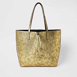 Goldfarbene, große Shopper-Tasche