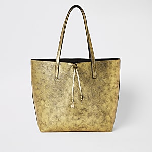 Gold large shopper beach bag