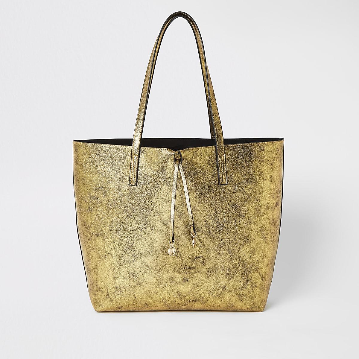 Grand sac de plage cabas doré