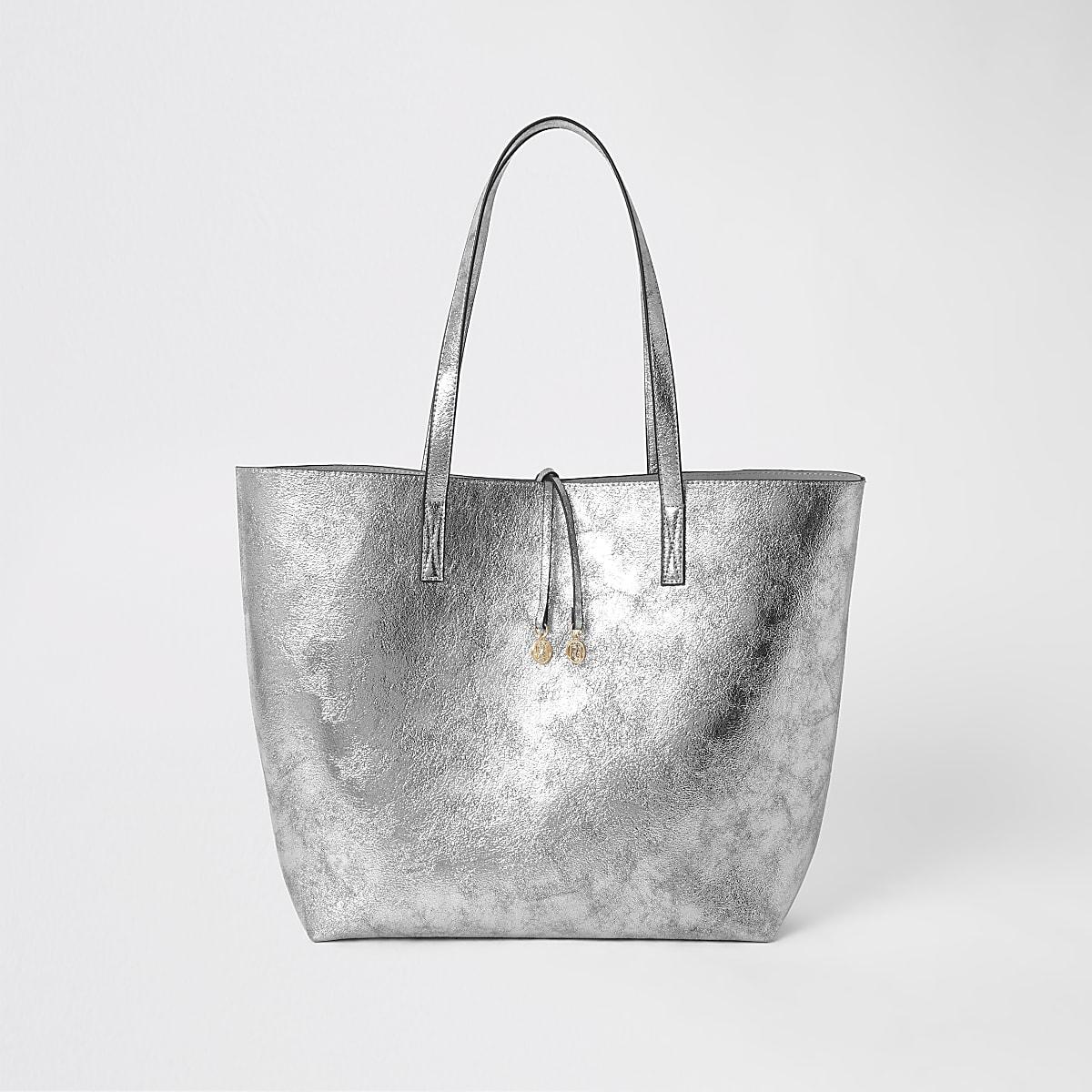 Silver tote shopper bag