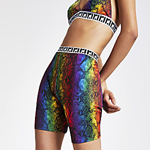 Short cycliste imprimé serpent multicolore