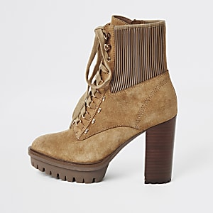 Beige lace-up high heeled hiker boots