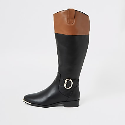 Black contrast trim riding boots