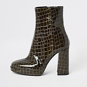 Green leather croc platform heel boots