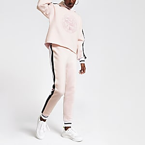 Pink 'Prolific' embroidered joggers
